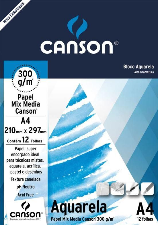 Bloco Canson Aquarela 300gm - A4