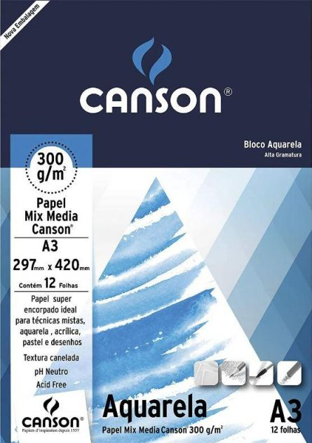 Bloco Canson Aquarela 300g - A3