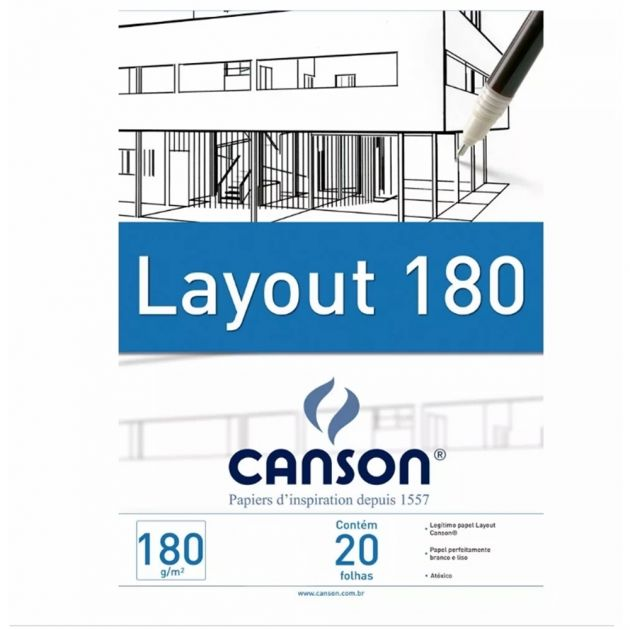 Bloco Canson Layout 180gm Branco - A3