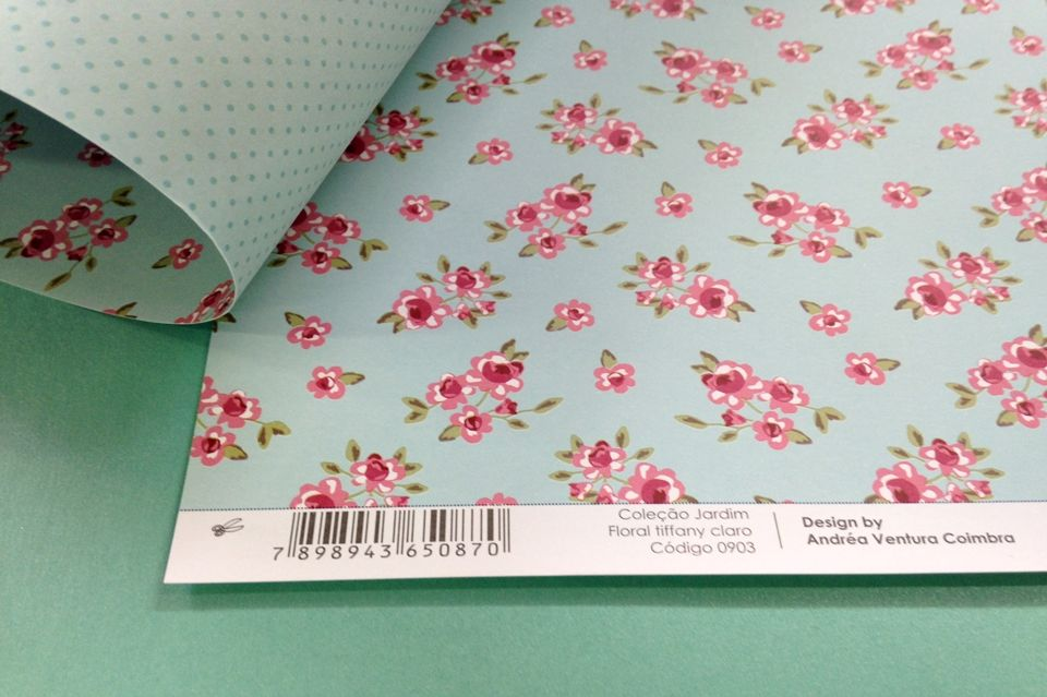 Papel Scrap Craft Ideias Floral Azul Tiffany - 0903